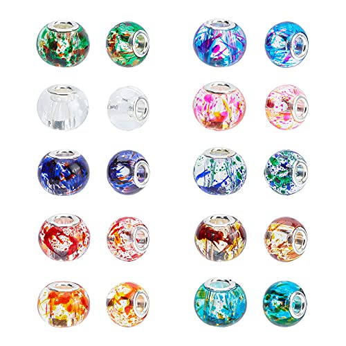 PandaHall Elite 1 Scatola 100 Pezzi Perline Europeo di Vetro per Bigiotteria Fai da Te, Perle con Fori Grandi, Colore Misto, 15x12mm, Foro: 5mm, Circa 100 Pezzi/Scatola