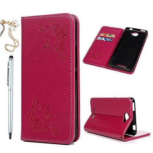 Funda para teléfono móvil BQ Aquaris U Lite, funda de silicona con tapa, cierre magnético, función atril, plegable, antigolpes, con compartimentos, color rosa