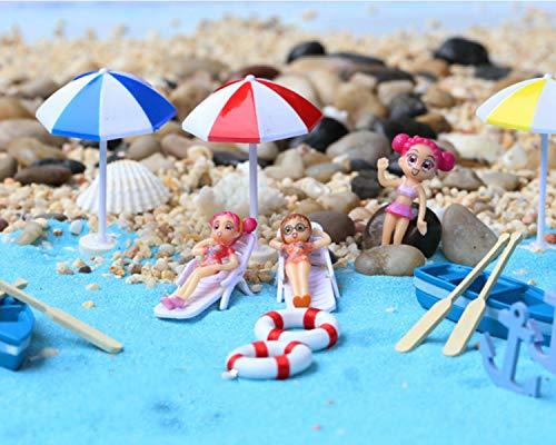 KATERT 22 Pcs Beach Style Miniature Ornament Kits Set for DIY Fairy Garden Dollhouse Decoration, Blue Sand/Cute Girls/Beach Chair/Boat/Oars/Beach Umbrellas/Swimming RingLift Buoy/Starfish