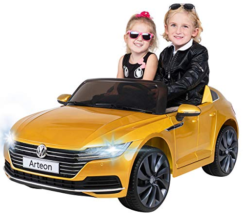 Actionbikes Motors Kinder Elektroauto VW Arteon - Lizenziert - 2 x 45 Watt Motoren - 2,4 Ghz Fernbedienung - Eva Reifen - Multimedia Touch Display (Kurkumagelb Lackiert)