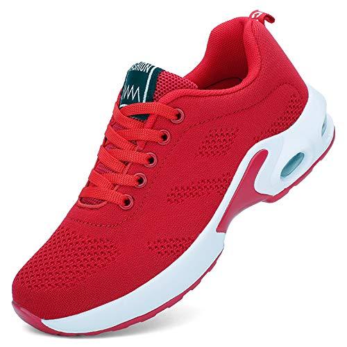 AARDIMI Damen Sneaker Mesh Atmungsaktiv Laufschuhe Turnschuhe Leichte Laufschuhe Gym Sportshuhe (Rot, Numeric_38)