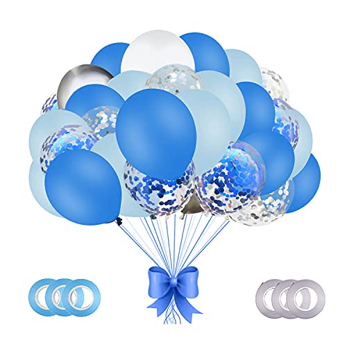 66 Blue White Party Balloons, 12 Inch Latex Balloon Party Decoration Kit, Silver Blue Confetti...
