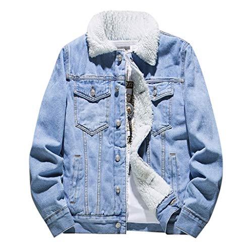 MAYOGO Herren Sherpa Jacke The Trucker Jacket Fleece Warm Gefüttert Classics Herren Jeansjacken Winter Denim Jacket Gefütterte Jeans Jacke Winterjacke (Blue, XXXL)