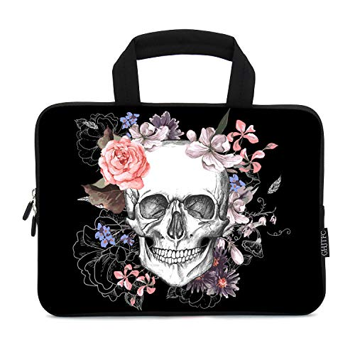 12 Inch Laptop Sleeve Carrying Bag Protective Case Neoprene Sleeve Tote Tablet Cover Notebook Briefcase Bag with Handle for Women Men(Skull Flower,12')