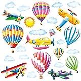 decalmile Pegatinas de Pared Globos Aerostáticos Arco Iris Vinilos Decorativos Avión Adhesivos Pared Habitación Niños Infantiles Cuarto de Jugar