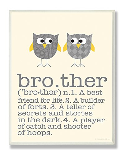 The Kids Room by Stupell Definition Of Brother With Two Grey Owls Rectangle Wall Plaque, 11 x 0.5 x 15, Proudly Made in USA
