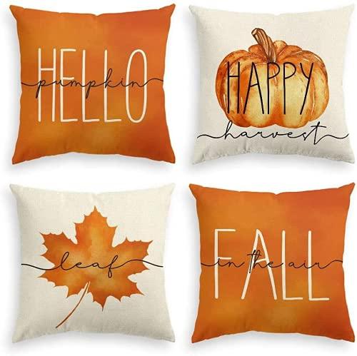4 x Kissenbezüge, Motiv: Herbsternte, goldener Herbst, glückliche Ernte, Danksagung, goldener Herbst, Baumwollleinen, dekorative Kissenbezüge für Sofa, Couch, Schlafzimmer, Heimbüro, 45 x 45 cm