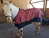 Tech Equestrian 1200 Denier Horse RAIN Sheet (Waterproof/Breathable & Wind Proof Turnout Sheet) Horse Breathable RAINSHEET (Red-Plaid, 78)