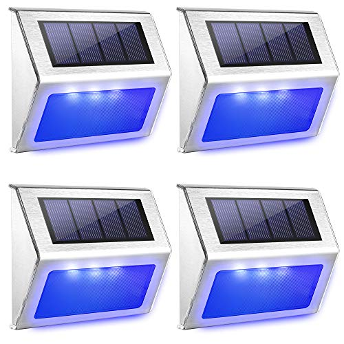 JACKYLED Solar Step Lights Outdoor Blue LED Light Solar Stair Lights Stainless Steel Outdoor Solar Wall Lights Weatherproof Outdoor Auto Lighting for Steps Stairs Decks Fences 4 Pack Blue