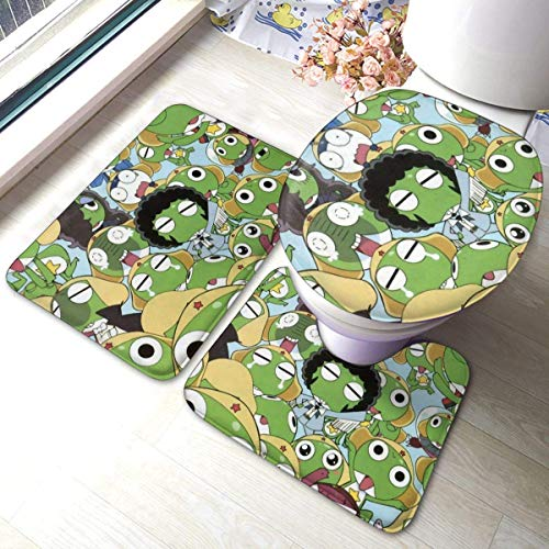 YHKC Hogar Jardín Hogar Cocina Categorías Baño Alfombrillas de baño Keroro Gunso Bathroom Mat 3-Piece Set, Bathroom U-Shaped Contour Mat/Floor Mat/Toilet Cover Bathroom Carpet Cover, Soft No