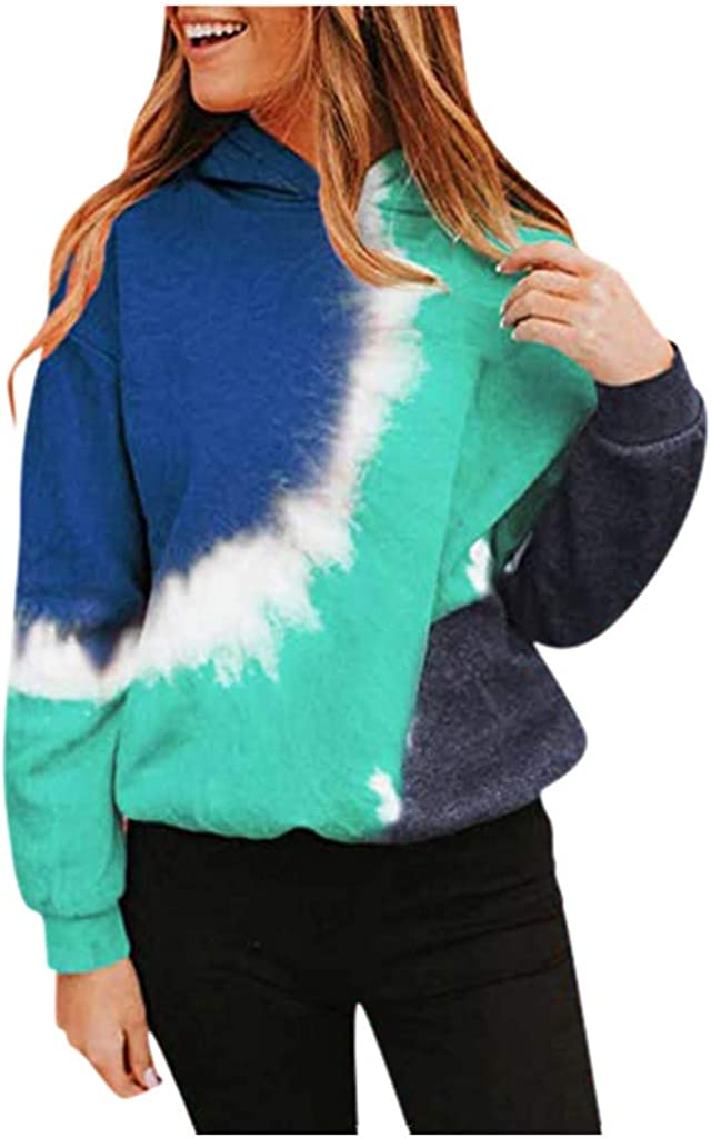 Women Plus Size Tie-Dye Printed Gradient Pullover Long Sleeve Oversized Sweatshirts Basic Jacket with Pockets