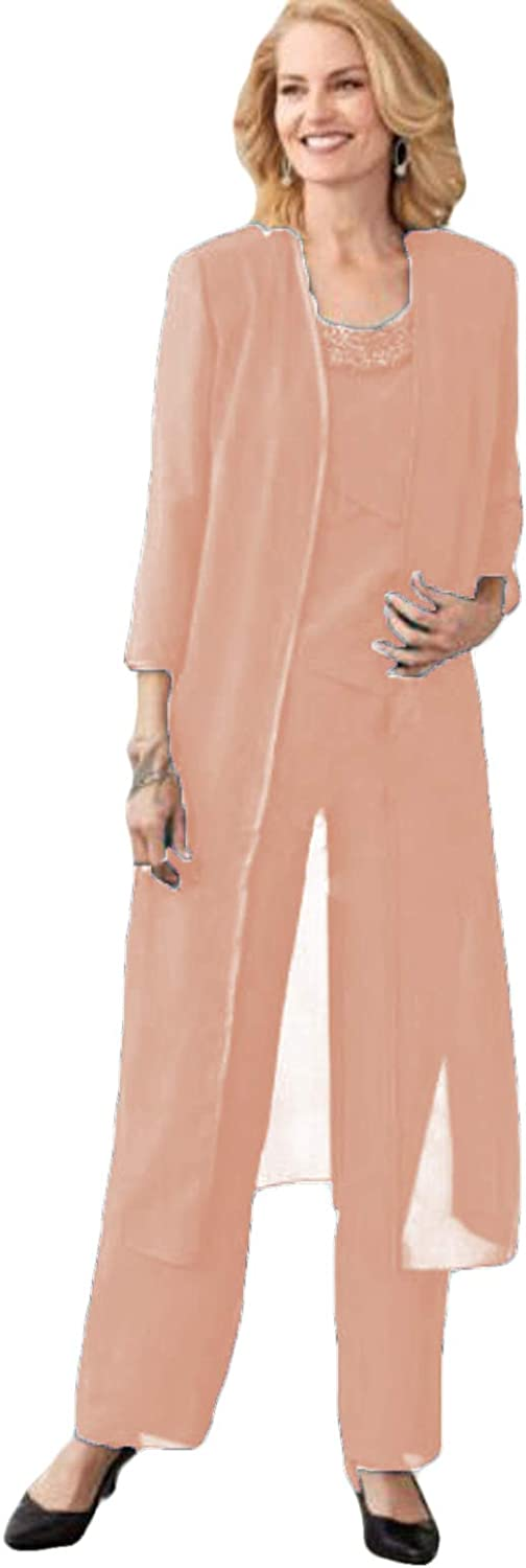 Xixi House 2021 Mother of The Bride Pantsuit Layered Dress with Long Coat Beaded Neck for Wedding Party