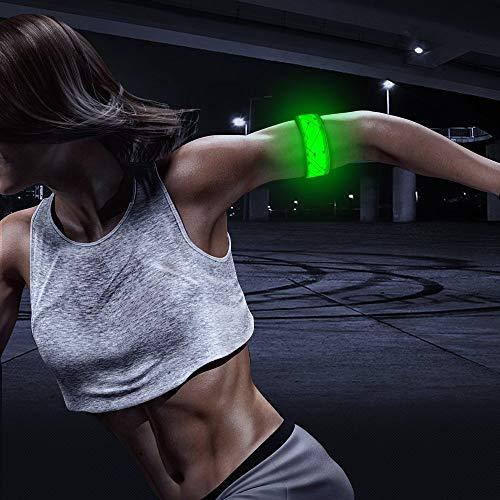 Expersol - Fascia da Braccio a LED di SeeMe, Luce di Marcia LED Lampeggiante e costante, Attrezzatura da Corsa Riflettente per corridori, Green