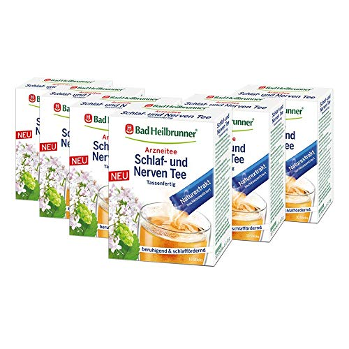Bad Heilbrunner Schlaf-Nerven Tee im Stick, Tassenfertig, 6er Pack (6 x 10 Sticks)