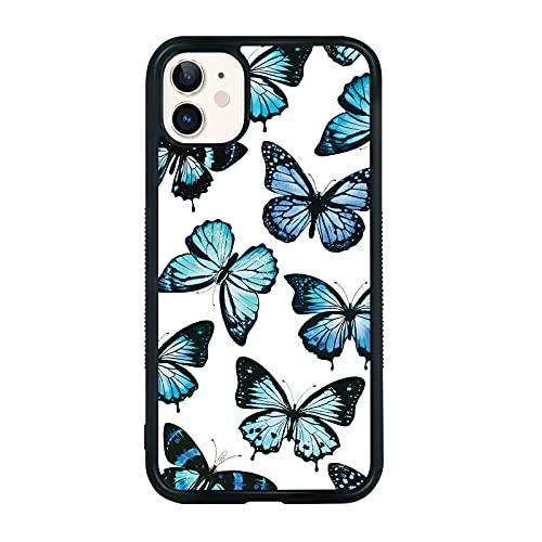 Blue Butterfly Case iPhone 11-6.1 Inch Butterfly iPhone 11 Case, Non-Slip Pattern Design and Shock Absorption, Soft Silica Gel Frame Support Black Phone Case for Teen Girls and Sisters