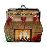 Nochebuena Regalos de Chimenea y Calcetines Rojos Cartera de Cuero Estampada para Mujer Monedero Kiss-Lock Carteras de Maquillaje de Viaje