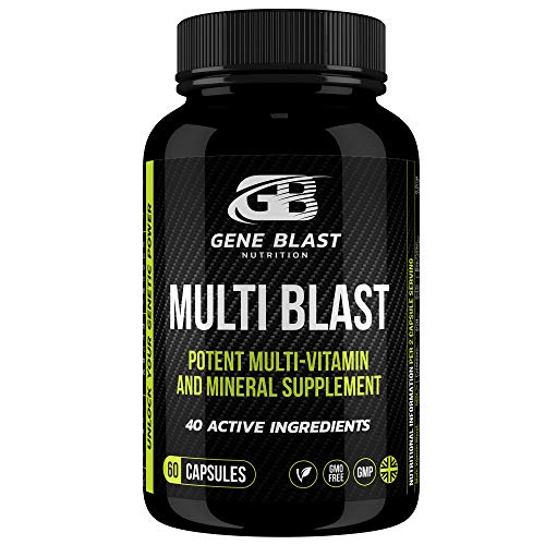 Gene Blast Multivitamins and Minerals for Men and Women w/40 Active Vitamins, Minerals, Herbs & Amino Acids to Optimise Physical, Mental and Social Wellbeing - 60 Capsules.