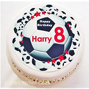 Astonishing Personalised Football Cake Topper Choose Colour Name Age Funny Birthday Cards Online Alyptdamsfinfo
