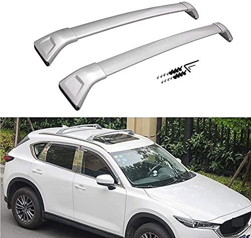 2 piezas Barra de techo para Mazda CX5 CX-5 2017 2018 2019 2020, Aleación de aluminio Barras transversales para portaequipajes de techo para llevar Canoe Bike Kayak ect
