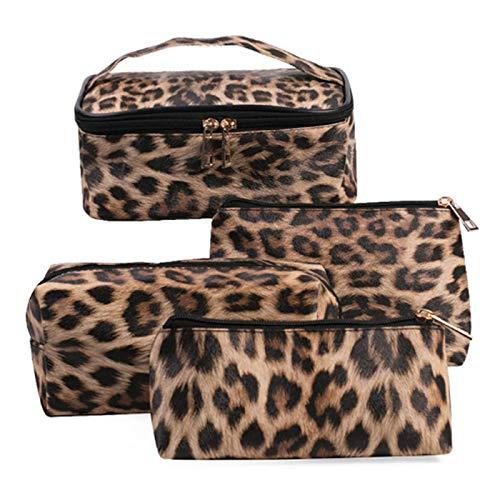 TURMIN 4 Stücke Leopardenmuster Make-up Taschen Reise Kulturtaschen Kulturbeutel Tragbare wasserdichte Kosmetiktaschen Geldbörse Handtasche für Frauen Mädchen