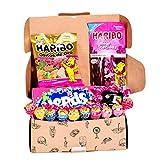 Caja regalo de chuches I Pack de gominolas para regalar: Chupa Chups, Nerds, Haribo ositos, Chicles 5 Sandia, Haribo cereza, Pikotas I Cesta ideal para regalar o disfrutar