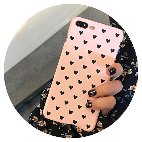 Carcasa rígida para iPhone 5 5S SE para iPhone 6 7 Case For Fundas iPhone 6s XS Max XR X 7 8 Plus Case Cover Hard Heart Love Case Cover, compatible con Apple iPhone 5 Apple iPhone 5C Apple iPhone 5S (fabricado en Silicona. TPU), color rosa