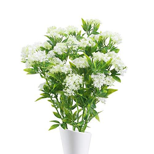 NAHUAA 4pcs Gefälschte Blume Hortensien Künstliche Blumen Gypsophila Plastik Blumen Kunstblumen Deko für Vase Zimmer Büro Balkon Garten Hochzeit Dekoration Weiß