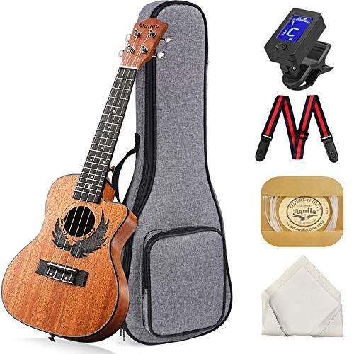 Concert Ukulele Manao 23 Inch Eagle Cutaway Ukelele Beginners Kit Professional Ukele Instrument Pack Bundle with Gig Bag Tuner Strap Aquila Strings Set