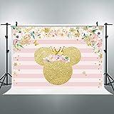 Riyidecor Golden Carton Mouse Backdrop Pink White Strips Flower Polka Dot Girl Photography Background Newborn Baby Shower Photo Studio 7Wx5H Feet Decor Props Photo Shoot Fabric