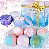 Bath Bombs Gift Set for Women - 6 Pcs Natural Bubble Bath Balls and 3 Pcs Scented Candles, Relaxing Handmade Fizzies Spa Kit with Essential Oils, Sea Salt, Christmas Birthday Gift for Her Girls Mom