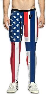 NKUANYJYDKN7 Men's American Norway Flag Yoga Pants Sports Tights Pants Baselayer Running Leggings