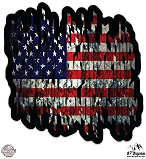 GT Graphics American Flag Tattered - Large Size Vinyl Sticker Decal - for Truck Car Cornhole Board