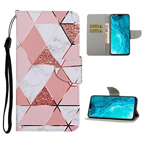 Nadoli Brieftasche Etui für Samsung Galaxy A21S,Rosa Weiß Marmor Muster Bunt Pu Leder Lanyard Standfunktion Magnetisch Handyhülle Schutzhülle Lederhülle mit Kartenfach