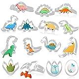 GIANOLUC 15 Stück Dino Ausstechform, Edelstahl Dino Keksausstecher, Dino Party Set, Keksausstecher...