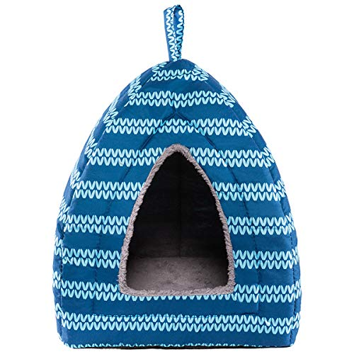 Hollypet Self-Warming 2 in 1 Foldable Comfortable Triangle Cat Bed Tent House, Blue Moire