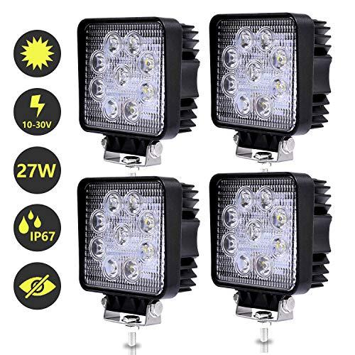 Hengda 4x 27W LED Arbeitsscheinwerfer, Scheinwerfer 12V 24V Rückfahrscheinwerfer Traktor LED Strahler für Offroad, KFZ, SUV, LKW, Auto Zusatzscheinwerfer IP67 Wasserdicht, Quad