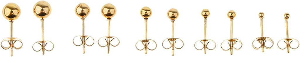 harayaa 5 Pairs of Stainless Steel Ball Earrings with 2mm and 6mm Balls