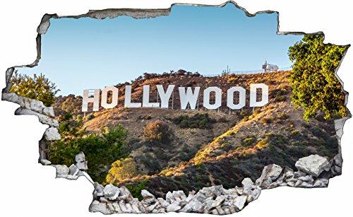 DesFoli Hollywood Los Angeles LA 3D Look Wandtattoo 70 x 115 cm Wanddurchbruch Wandbild Sticker Aufkleber C304