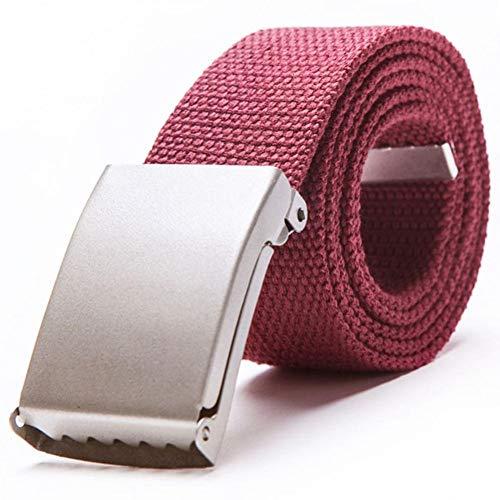 Wojiade Hebilla automática Cinturón de Lona de Metal Accesorios de Jeans para Hombres Muchos,Vino Rojo,110cm