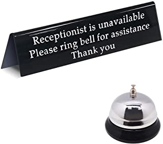 Please Ring Bell Sign for Service Assistance and Loud Metal Call Bell for Receptionists/Front Desk Office Sign for When You are Away Unavailable from The Front (7.9