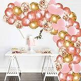 All Kit Arco Ghirlanda Palloncino Oro Rosa, 130 Pezzi Rosa, Palloncini Oro Rosa e coriandoli, Palloncini Dorati per Forniture per Feste, Compleanno, Baby Shower