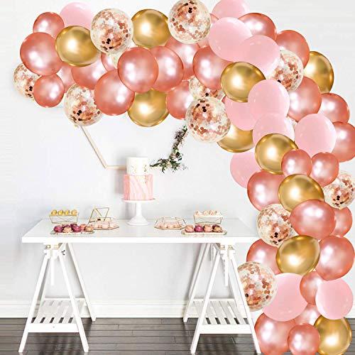 Kit de arco de guirnaldas de globos de oro rosa, 130 piezas de globos de color rosa, oro rosa y confeti, globos dorados para artículos de fiesta, cumpleaños, baby shower