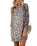 YOINS Vestido Casual para Mujer Verano Vestidos Largos Manga Corta con Cuello Redondo Elegante Tops de Fiesta Marrón-Leopardo M