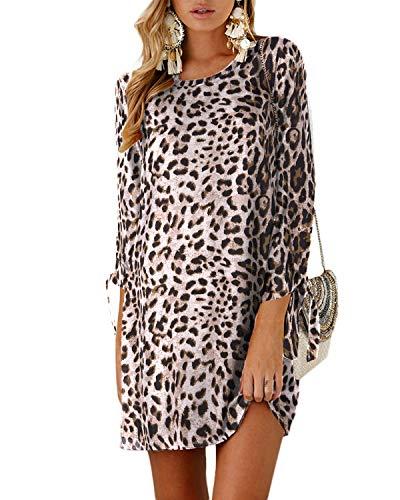 Yoins - Vestido de mujer para invierno, cuello redondo, vestido de novia, manga larga, minivestido, camiseta larga, túnica suelta con lazo en las mangas marrón leopardo. XL
