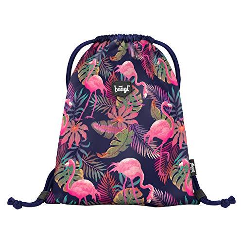 Baagl Turnbeutel für Mädchen und Damen - wasserdichte Schuhbeutel, Schule und Kindergarten Sportbeutel, Sportrucksack (Flamingo)
