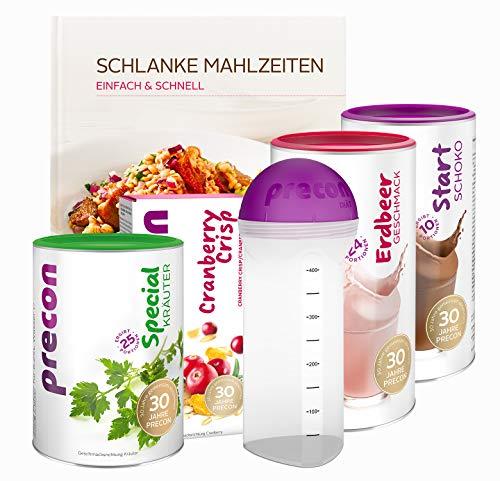 Precon BCM Diät Sommerpaket - 34 Shake Portionen - 25 Portionen Special Kräuter - 3er Packung Riegel - 1 Kochbuch «Einfach und schnell» - 1 Shaker