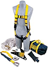 3M DBI-SALA 2104168 Roof Anchor Kit, w/Roof Anchor, Rope Adjuster w/Lanyard, Harness, 50' Lifeline,Counterweight,Bag,White/Navy/Yellow