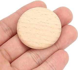 Tranches vierges en bois, copeaux de bois ronds, bois de hêtre 50 pièces rondes sans trou pour bricolage, accessoires de d...