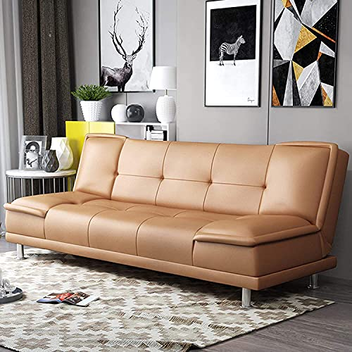 Sofa Bed Artificial Leather Convertible Sofa Couch with Folding Recliner, Adjustable Backrest and Side Pockets, Can Be Used In Living Room, Apartment, Dormitory, Red, 1.8M (Orange,200cm)