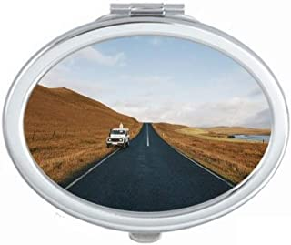 Autumn Car Country Road Travel Sky Grass Mirror Portable Fold Hand Makeup Double Side Glasses